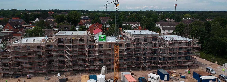 Drohnen Aufnahmen aus der Vogelperespektive von einem Bauprojekt der Bauunternehmen Kubau GmbH