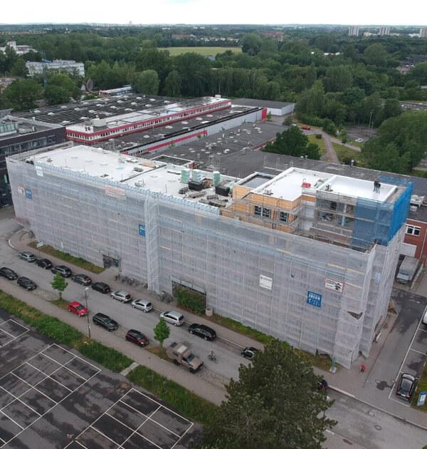 Nordseite aus der Luft der Umbauarbeiten am Wissenschaftspark Kiel